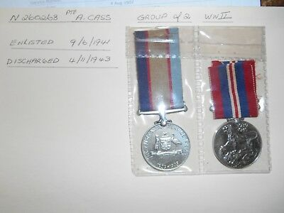 WWII Group of 2 War Medals Pte A.Cas with Papers