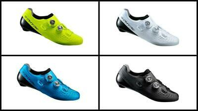 Shimano Sh-Rc9E Wide Road Shoes White/blue/ Yellow Brand New Without Socks