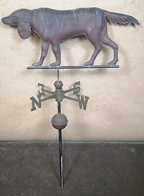 19th CENTURY COPPER AND BRASS WEATHERVANE IN THE FORM OF A HUNTING DOG - HOUND