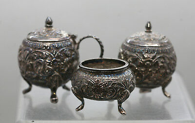 Vintage Ornately Made Set Of Three Israeli Sterling Silver Cruet Set Hallmarked