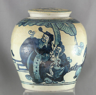 Stunning Vintage Chinese Porcelain  Blue & White Hand Painted Large Lidded Pot