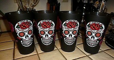 Black Day Of Dead Sugar Skull Roses Kitchen Tumblers Cups Glasses Set Of 4