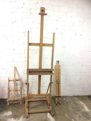 3 painting easels; Field travel, table-top. Windsor & Newton studio. Vic 3073