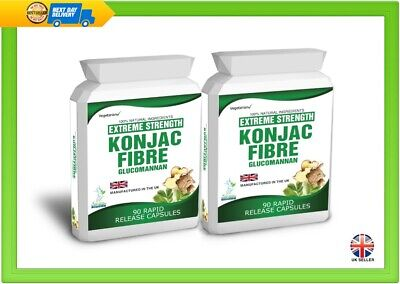 180 Glucomannan Konjac Fibre Extreme Capsules Weight Loss Diet 3000mg Daily Dose