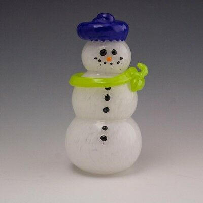 Adorable Handcrafted  Personality Unique Hand Blown Glass Snowman
