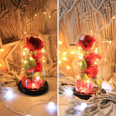 Beauty And The Beast Red Rose Flower In A Glass Dome on a Wooden Base Xmas Decor