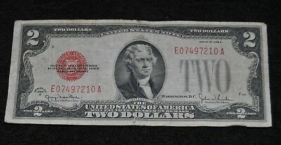 Two Dollar Bill Jefferson 1928 G Series E07497210  A RED Seal
