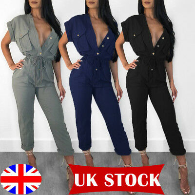 Womens V Neck Playsuit Bodycon Clubwear Party Jumpsuit Romper Trousers 6-20