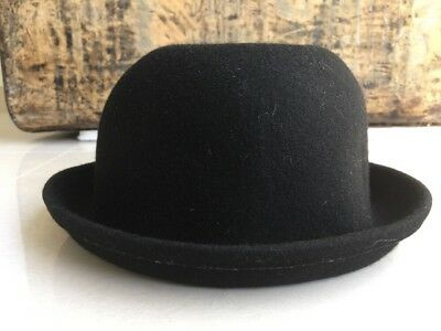 @@@ Womens Black 100% Wool Round Bowler Hat @@@ Size 57 @@@ Exc @@@