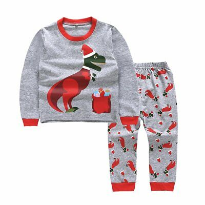 2018 Christmas Toddler Kids Baby Boys Girls Dinosaur Outfits Clothes Tops+Pants
