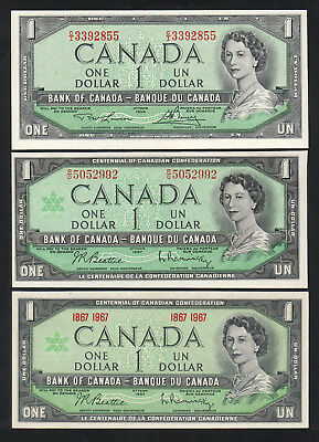 CANADA P-76d, 84a&b. Dollars:(1973-74) & Both Types 1967 Commem. aU/UNC-UNC