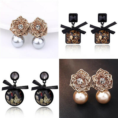 Womens Black Square Colorful Resin Stud Earrings Crystal Jewelry Wholesale