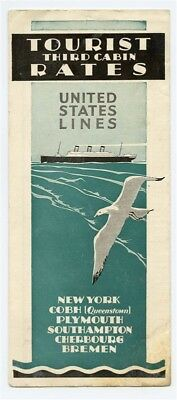 United States Lines Third Cabin Tourist Rates Brochure 1930 Cobh Plymouth Bremen