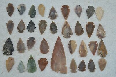 "35 PC Flint Arrowhead Ohio Collection Points 1-3"" Spear Bow Knife Hunting Blade"