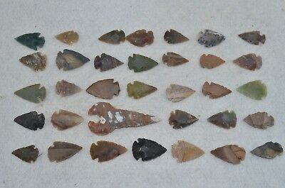 "34 PC Flint Arrowhead Ohio Collection Points 1-3"" Spear Bow Knife Hunting Blade"