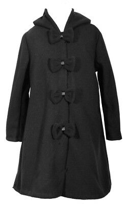 Bonnie Jean Girls Black Coat Dress Holiday Bow Special Occasion 4-16