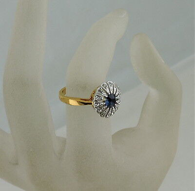 Vintage Gold Plated Victorian Style Clear & Sapphire Blue Rhinestone Ring Sz 5,5