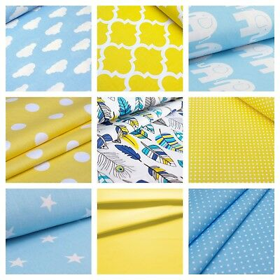 Yellow and Blue 100% Cotton Fabric - Elephant, Stars, Chevron, Clouds