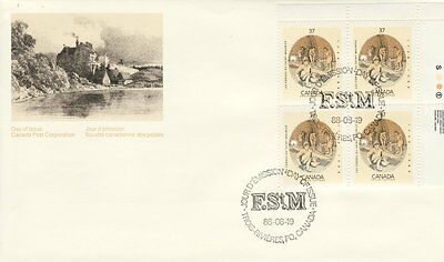Canada #1216 37¢ Les Forges Du Saint Maurice Ur Plate Block Feather In Cap Fdc