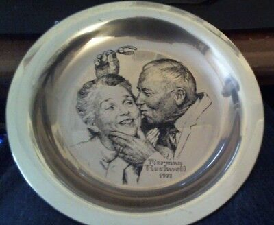 Norman Rockwell Sterling Silver Franklin Mint Plate 1971 Under the Mistletoe