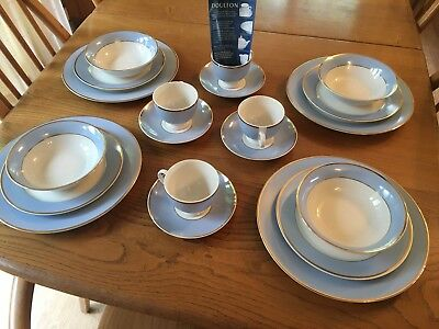 Royal Doulton 2004 Blue White And Gold Dinner Service Set - NEW