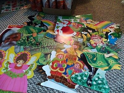 Vintage  holiday  Paper Die Cut Decorations St Pat's and Christmas   Lot of 13