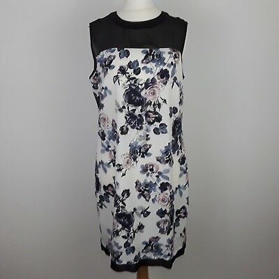 Redherring Ladies Womens Black White Floral Shift Dress With Sheer Panel Size 12