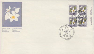 Canada #787 15¢ Floral Definitive Ur Plate Block First Day Cover