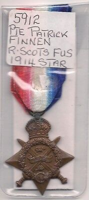 Ww1  14 Star To 5912 Pte Patrick Finnen Ry Scots Fusiliers