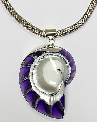 """Nautilus Shell Mother of Pearl Purple Basket Weave Sterling Silver 18"""" Necklace"""