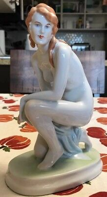 "ZSOLNAY, ART NUDE LADY KNEELING 9"" deco Style porcelain Figurine Woman"