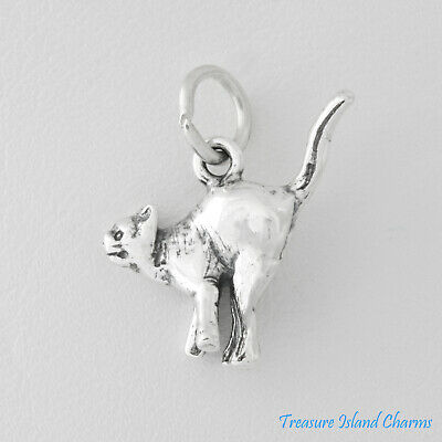 Kitty Cat With Mouse Best Friends 3D 925 Solid Sterling Silver Charm MADE IN USA