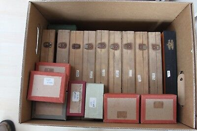 17 Microscope slide boxes for 76x26mm slides - 9 wood, 1 plastic 7 card