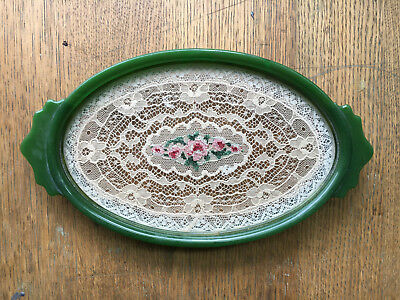 Antique catalin celluliod bakelite Oval Dresser Tray with Lace Insert floral