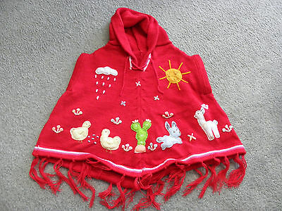 New Made In Peru Arpillera Poncho with Hood Size 12 - 16 Months Red #010304