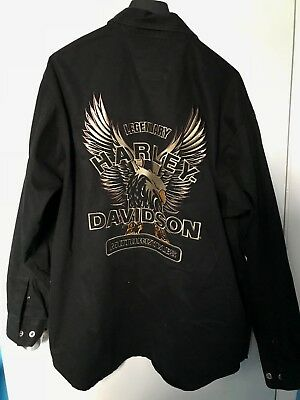 HARLEY DAVIDSON Black Embroidered Button Down Long Sleeve Shirt XL Rare