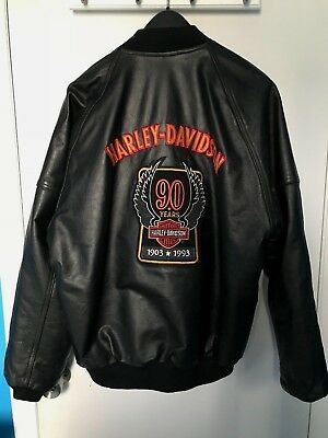 HARLEY DAVIDSON 90th ANNIVERSARY Men's Leather Jacket LIMITED EDITION RARE Large