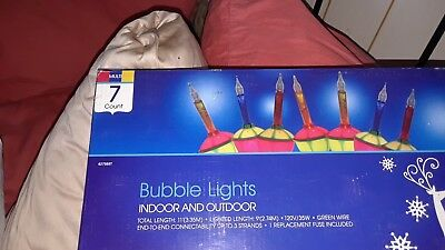 Christmas Classic Bubble Lights Lites 7 Ct In Pkg Holiday Time Sparkling Color