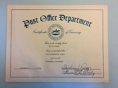 Post Office Department Certificate of Training from 1969