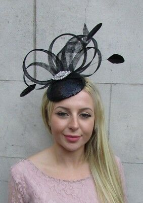 Black Silver Sequin Feather Pillbox Hat Fascinator Races Wedding Formal 6374