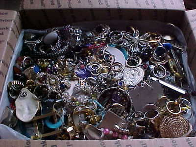 10 lbs. Junk craft jewelry lot unsorted good craft repair. All Ring earrings Lot