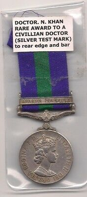 General Service Medal 1918 -62 Arabian Peninsula To A Doctor Khan