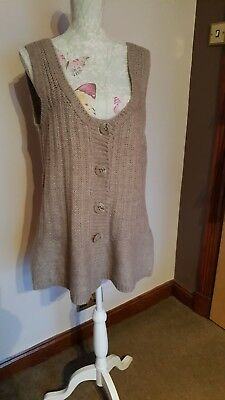 Ladies River Island Taupe Coloured Acrylic And Alpaca Waistcoat Size 16