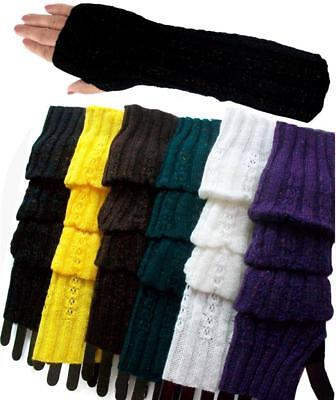 6 Pairs Thin Knit Winter Arm Warmers fingerless long gloves MultiColors Sparkles