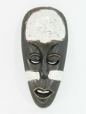 """Tribal Mask 12"""" Wooden Hand Carved & Painted Bali Indonesia Wood Silver"""