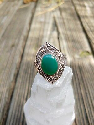 Vintage Sterling Silver Art Deco Style Chalcedony Stone Ring 10 Green Marcasite