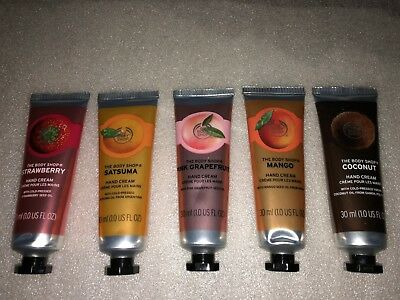 THE BODY SHOP HAND CREAM 5 x 30ml. BRAND NEW.