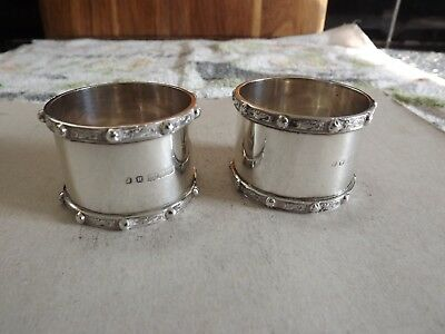 Pair Heavy Drum Shape Solid Silver Napkin Rings.