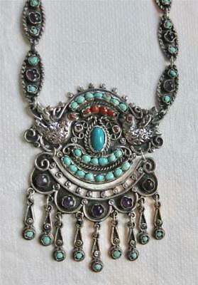vntge MEXICAN STERLING Silver JEWELED PALOMA NECKLACE Repousse Doves MATL Design