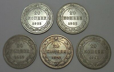Russia R.S.F.S.R. 1922 Lot of 5 coins 20 Kopeks Silver